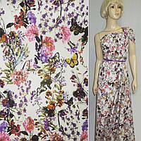 Лен льняная ткань (льняная ткань) молочный с разноцветными цветами и бабочками ш.145
