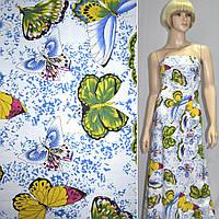 Лен белый с разноцветными бабочками ш.150