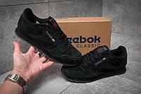 Спортивные мужские кроссовки Reebok Classic, черные, замша