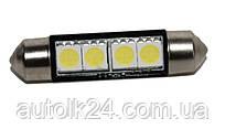 LED лампа C5W  42мм 4 SMD5050 24V Белый цвет