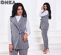 Костюм большого размера ,Ткань: лен стрейч костюмка Цвет: голубой, серый Блузка в комплект не входит дг№1203