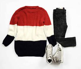 Стильный повседневный удлиненный свитер для девочки Италия размеры 4-14