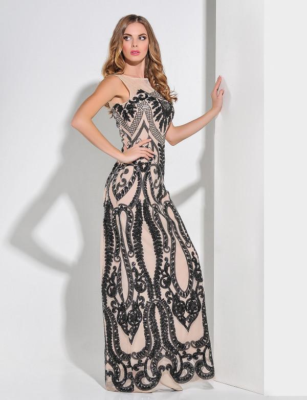 Платье женское чёрное и капучино вечернее ENIGMA MKENG3032