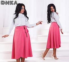 Женская юбка батал, креп - дайвинг, р-р 50; 52; 54; 56 (розовый)