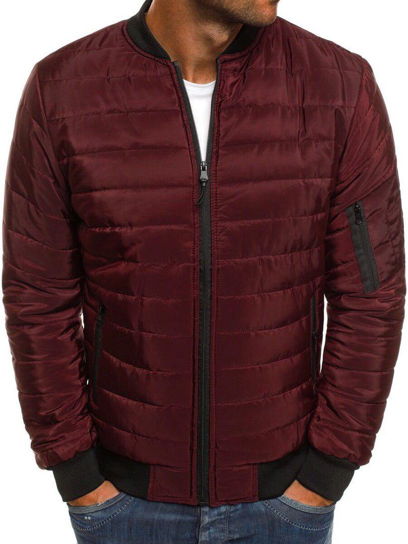 Мужская весенняя куртка стеганая бордовая