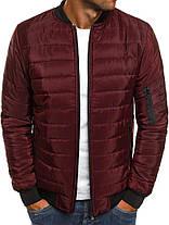Мужская весенняя куртка стеганая бордовая, фото 2