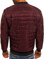 Мужская весенняя куртка стеганая бордовая, фото 3