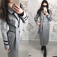 Кашемировое женское удлиненное двубортное пальто с металлическими пуговицами, фото 1