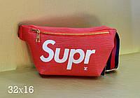 Модная сумка-ремень на пояс Louis Vuitton Louis Vuitton Supreme эко-кожа красная