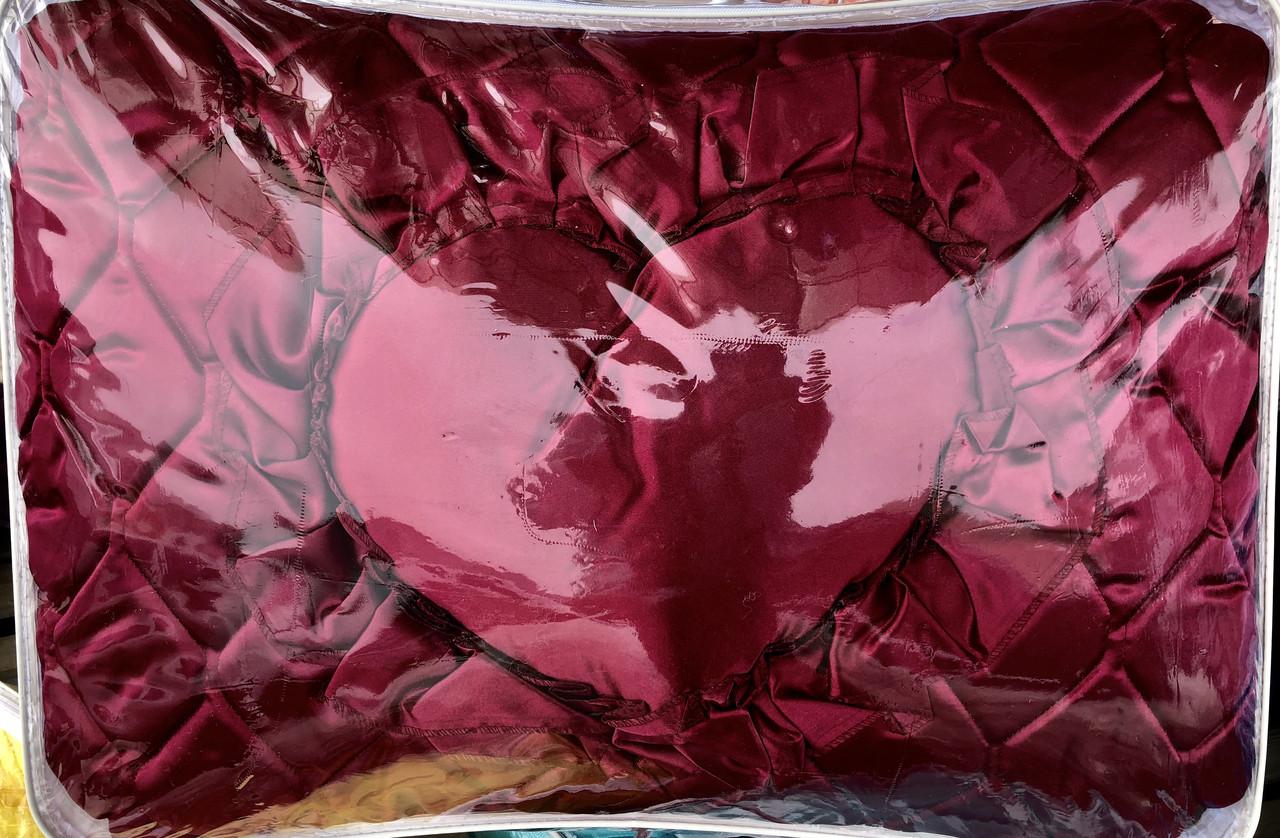 Атласное двуспальное покрывало+Подушка Сердце