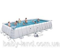 Бассейн каркасный прямоугольный 26 845 литров с песочным фильтром Bestway 56475