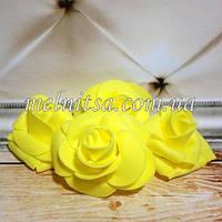 Роза из латекса, цвет желтый,  4,5-5 см