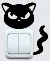 Виниловая интерьерная наклейка - Кошка на розетку 2  (от 7х5 см)