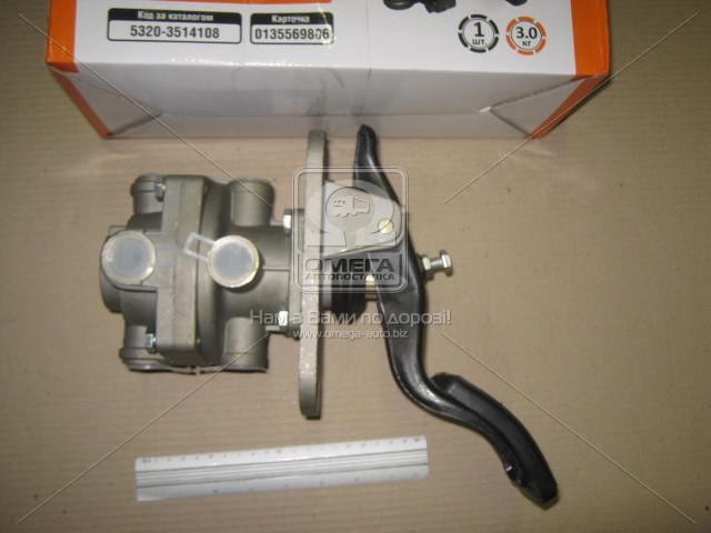 Кран тормозной  2-секционный  подпедальный КАМАЗ . 5320-3514108. Ціна з ПДВ.