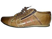 Мужские кожаные спортивные туфли польские Basso 1371 коричневые