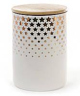 """Банка Gold Star """"Звезды"""" для сыпучих продуктов 1100мл с бамбуковой крышкой, мятная"""