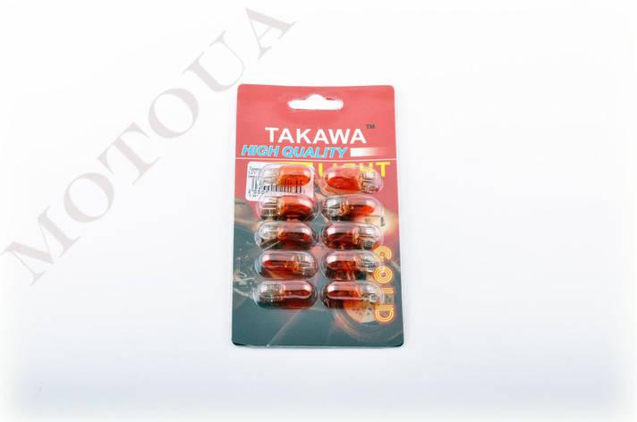 Лампа Т10 (безцокольная) 12V 3W (габарит, приборы) (желтая) TAKAWA, фото 2