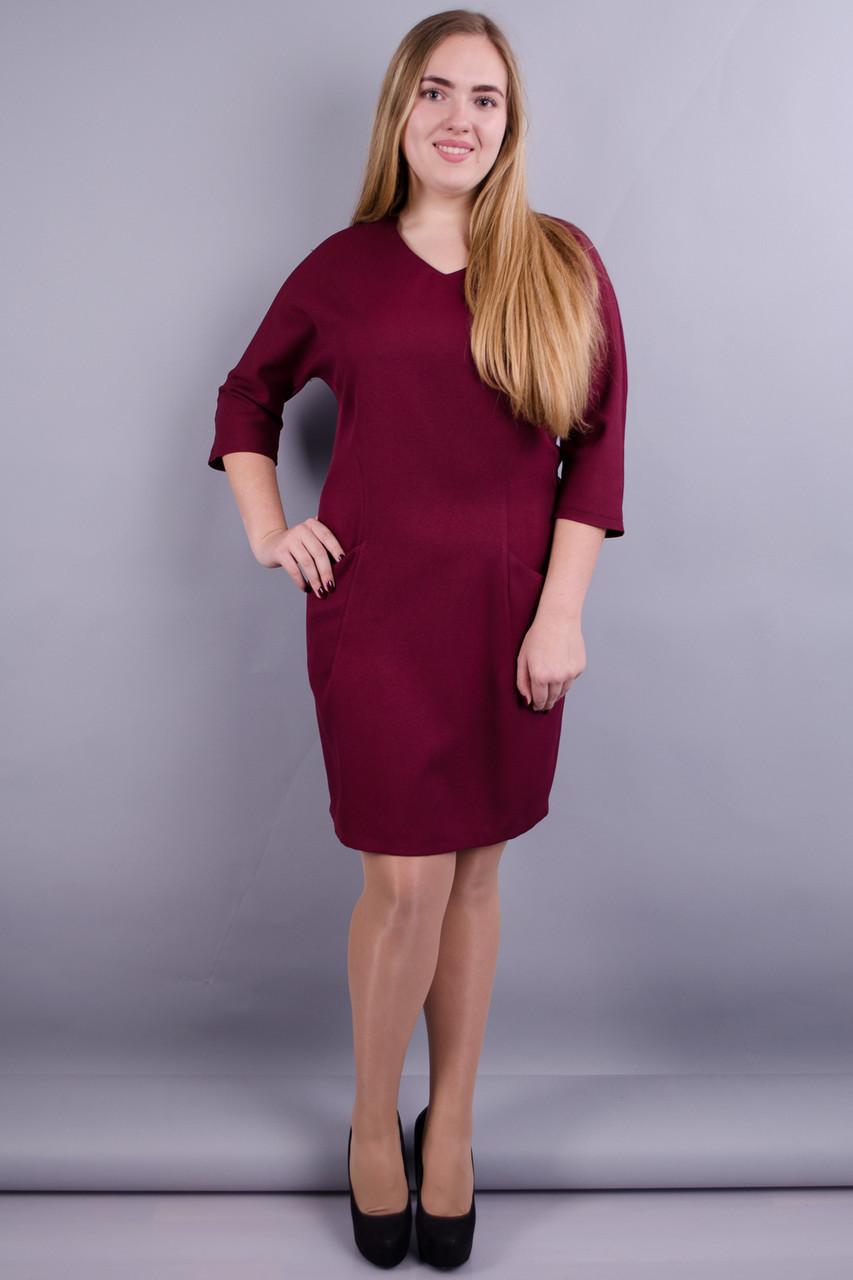 Стильне ніжне жіноче плаття Вікторія батал колір бордо 50 52 54 56 58 60 62  64 025839d63b0ee