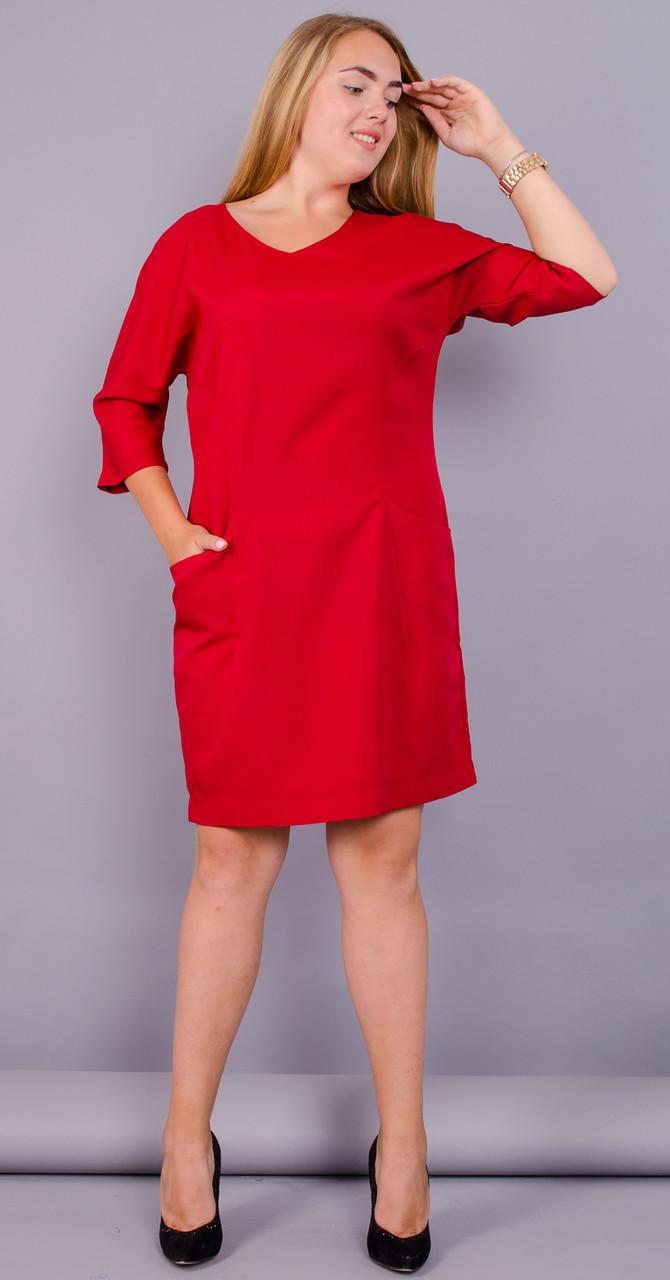 Стильне ніжне жіноче плаття Вікторія батал колір червоний 50 52 54 56 58 60  62 64 5131f172ee685