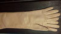 Женские перчатки длинные из натуральной кожи модель 052 - 60 см.