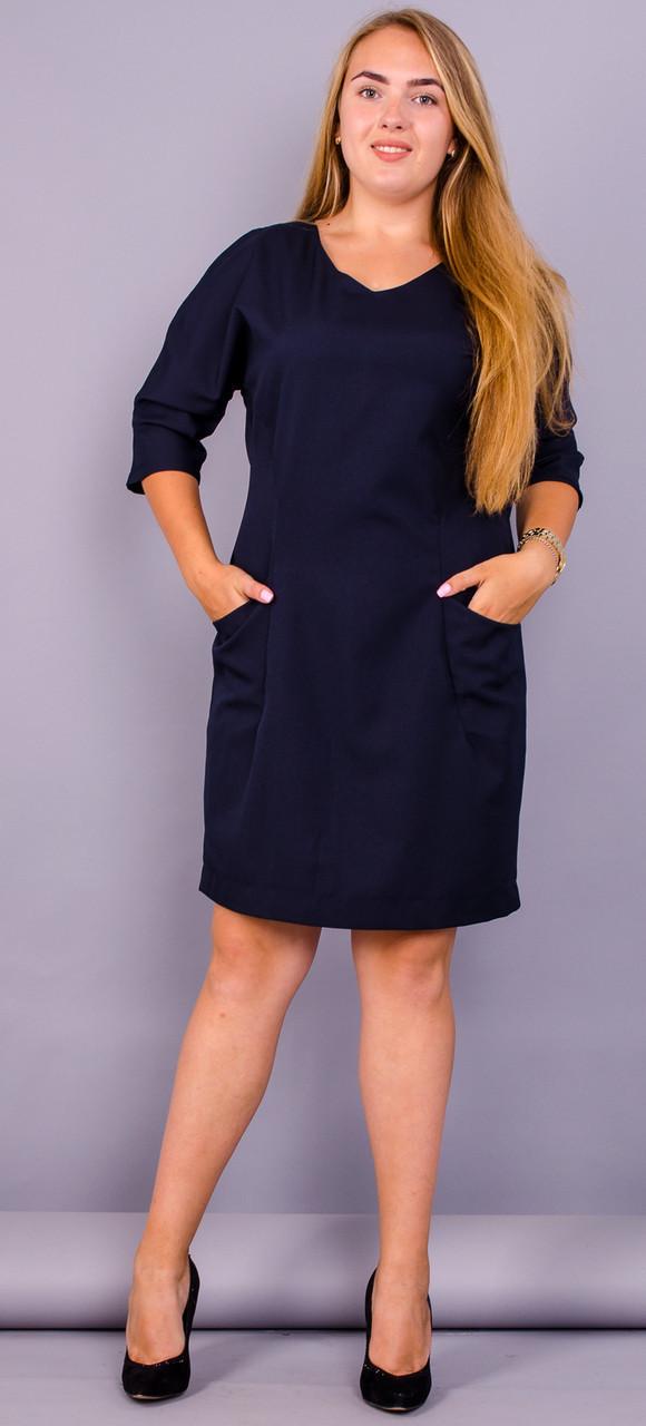 Стильне ніжне жіноче плаття Вікторія батал колір синій 50 52 54 56 58 60 62  64 f9156dcf94d35