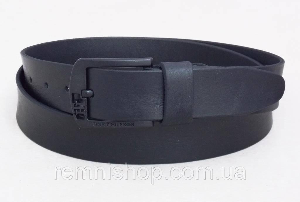 Мужской кожаный ремень Томму с черной пряжкой