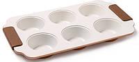 Форма керамическая прямоугольная для выпечки Maestro,(6 кексов) антипригарное покрытие