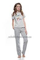 Жіноча Піжама ELLEN штани+футболка Сіра Смужечка 149/001