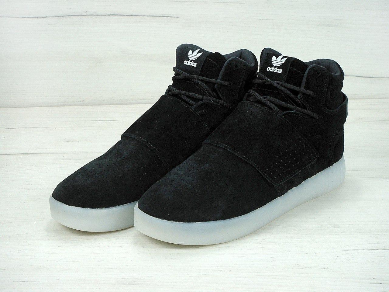 Мужские кроссовки Adidas TUBULAR invader strap черно/белые