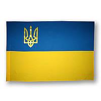 Флаг Украины , прапор України , с гербом , габардин , 110×70 см.
