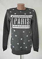 "Толстовка теплая на байке ""Париж"" - темно-серый"