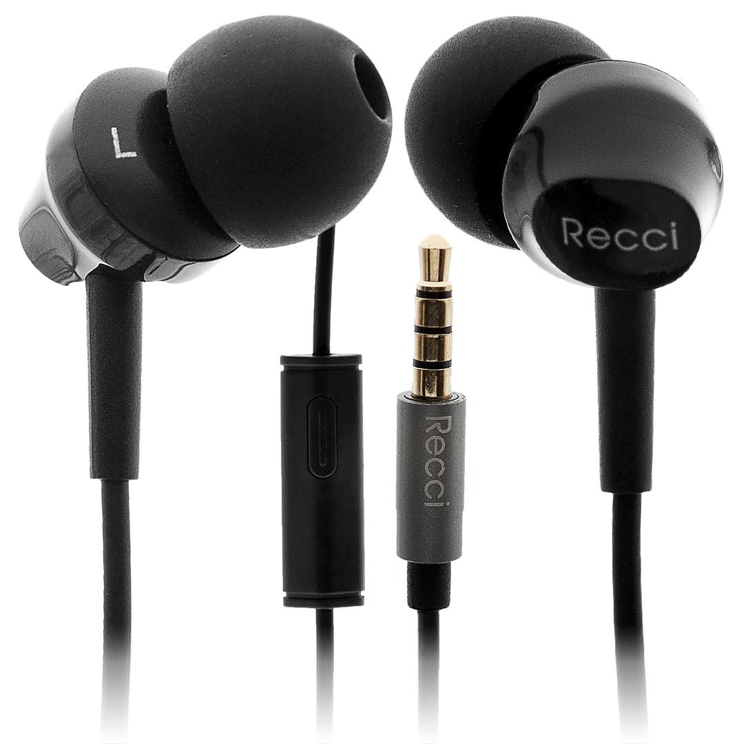 Вакуумные черные наушники Arioso REW-C01 Recci CC100021