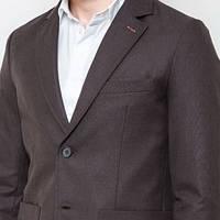 Мужской стильный пиджак классический с крупными карманами коричневый