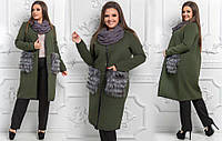 Пальто с меховыми карманами для пышных форм