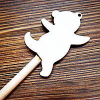 Высечка деревянная на палочке Мишка 6*19см, фото 1
