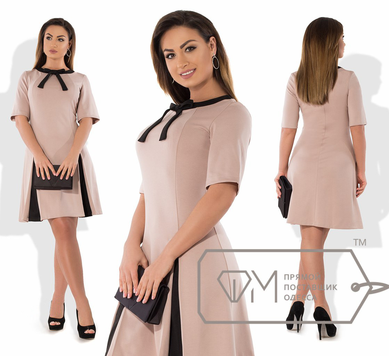 64cd3f22326 Трикотажное батальное платье с черными вставками 50