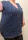 Турецкая вязанная жилетка батал, цвет джинс, фото 2