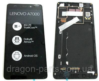 Дисплей Lenovo A7000 з сенсором чорний/black , оригінал 5D68C01161, фото 2