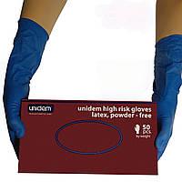 Перчатки латексные, Unidem синие ( 100 шт/уп) S,M,L,XL