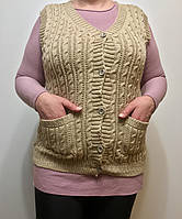 Женская жилетка вязка 50-58рр, цвет бежевый