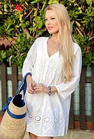 Белая кружевная летняя туника из хлопка Индиано, Fresh-cotton 17173