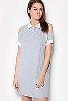 Женское вискозное серое платье с белым воротником (Merci crd)