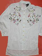 Блузка с вышивкой женская 44-46-48 удлиненная