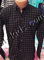 Стильная стрейчевая рубашка для мальчика 6-14 лет (опт)(клетка т.синяя) (пр. Турция)