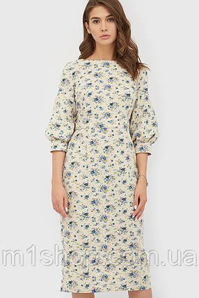 Женское бежевое платье с цветочным принтом (Friman crd), фото 2