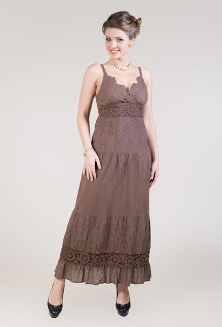 Сарафан женский летний коричневый из хлопка Индиано, Fresh-cotton 17223