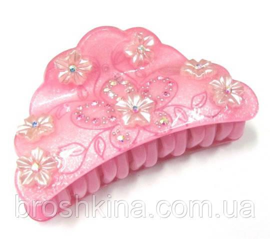 Краб для волос французский пластик со стразами L 8 см розовый