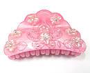 Краб для волос французский пластик со стразами L 8 см розовый, фото 2