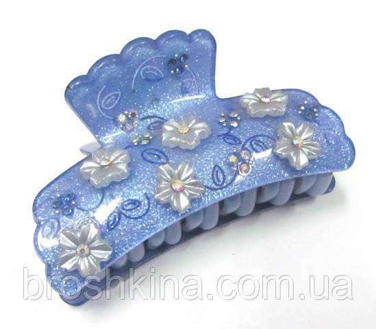 Краб для волос французский пластик со голубой L 8 см розовый