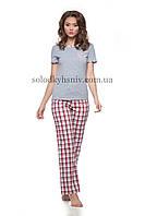 Жіноча Піжама ELLEN штани+футболка Червона Клітинка (батист) 153/001